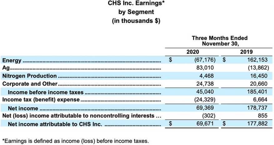 CHS Inc. Earnings by Segment balance sheet